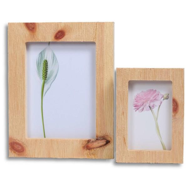Bilderrahmen Set aus gebürstetem Zirbenholz - für 13x18 und 9x13 cm Fotos