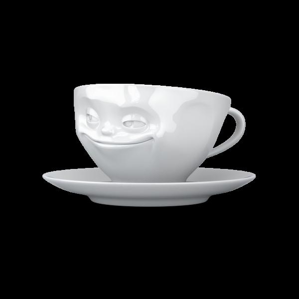 """Kaffeetasse 200 ml """"Grinsend"""" Weiß"""