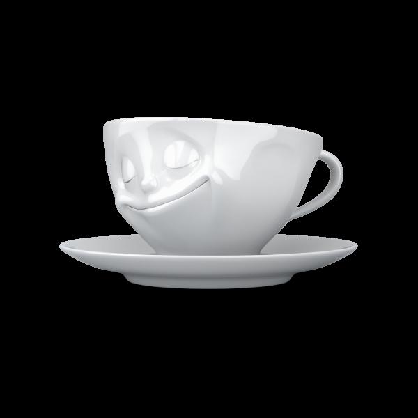 """Kaffeetasse 200 ml """"Glücklich"""" weiß"""